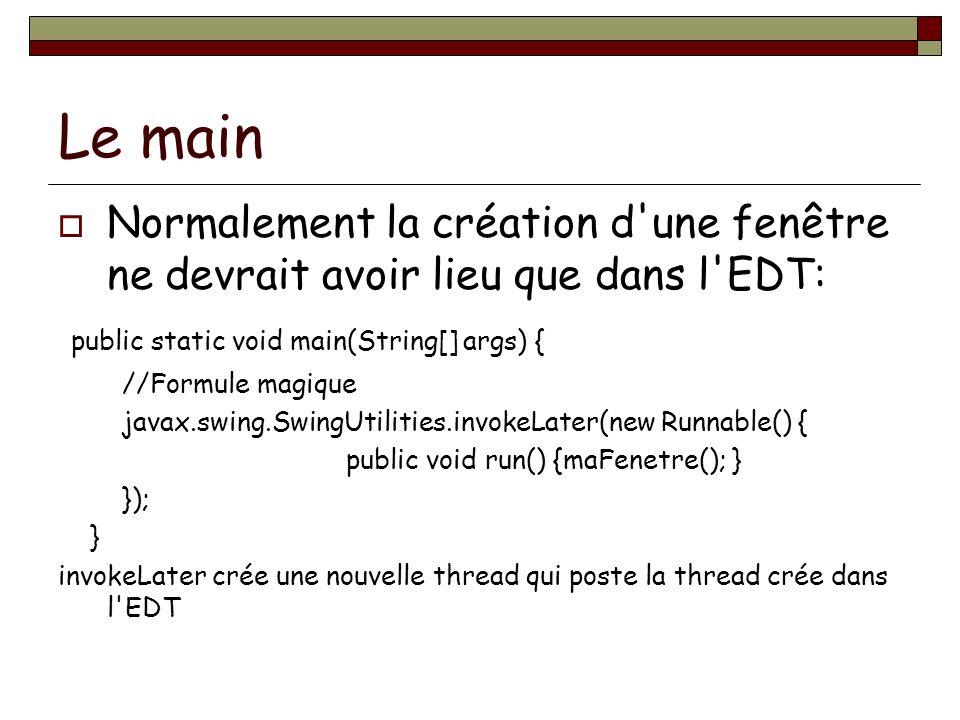 Le main Normalement la création d une fenêtre ne devrait avoir lieu que dans l EDT: public static void main(String[] args) {